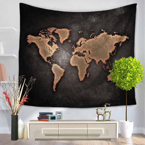 World Map Printed Tapestry