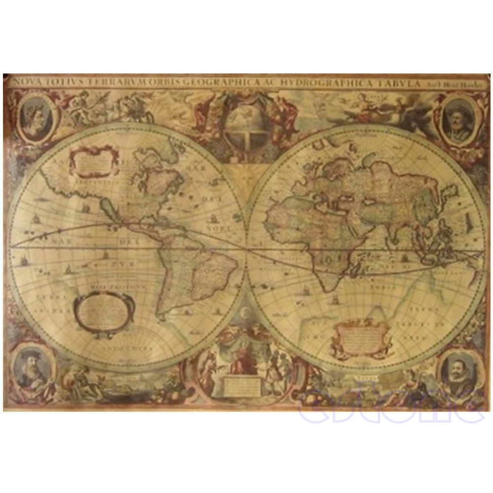 Antique Decorative World Map Poster
