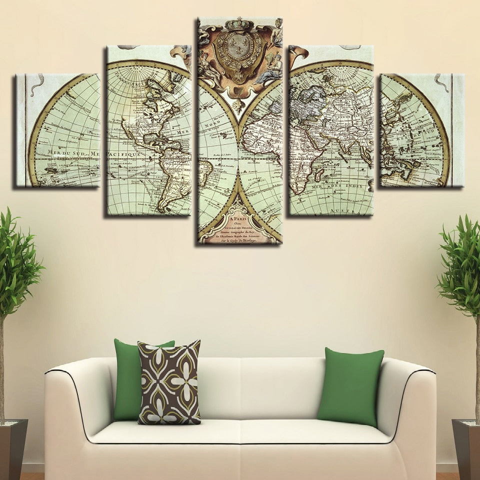 5 Panel HD Print Retro Decorative World Map Canvas Wall Art ... on