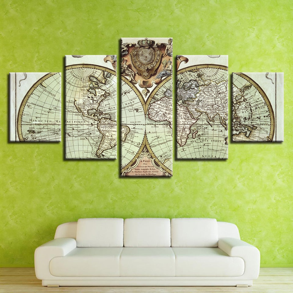 5 Panel HD Print Retro Decorative World Map Canvas Wall Art