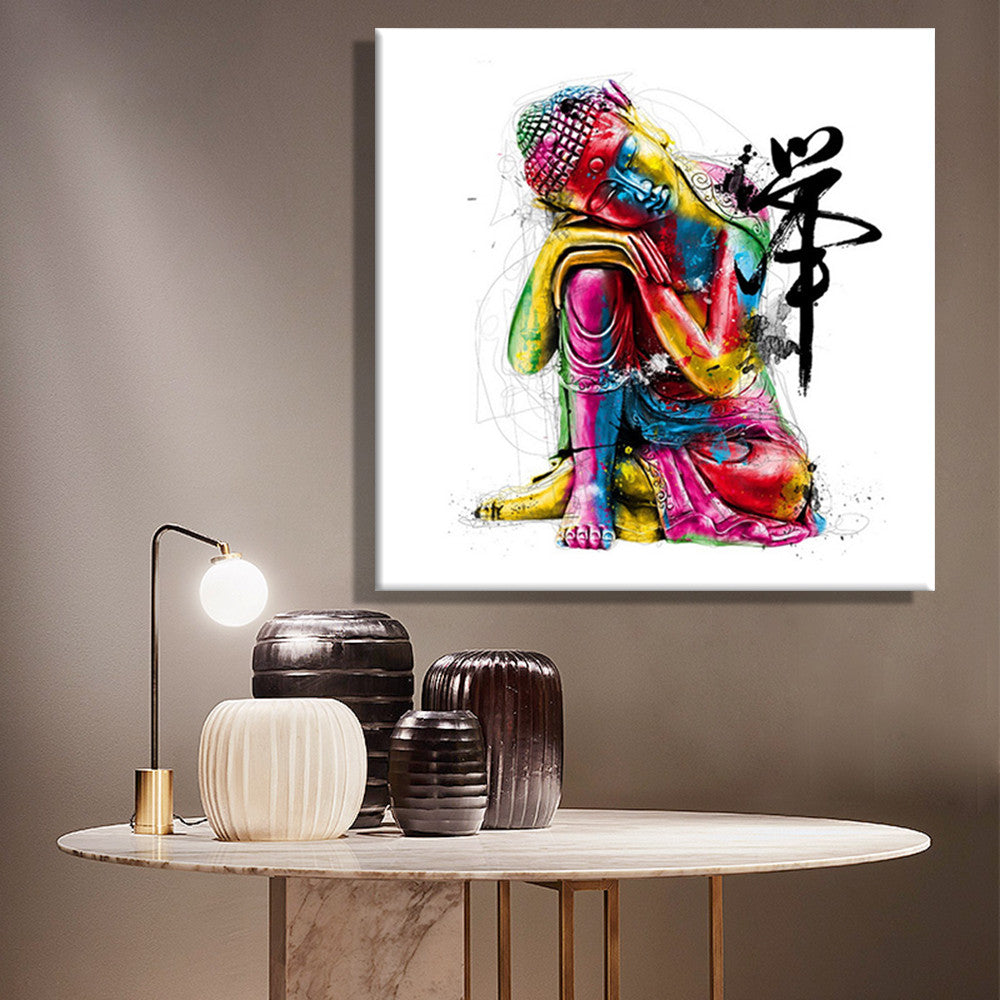 Colourful Buddha Sitting Wall Art Painting On Canvas/Home Decor On Canvas