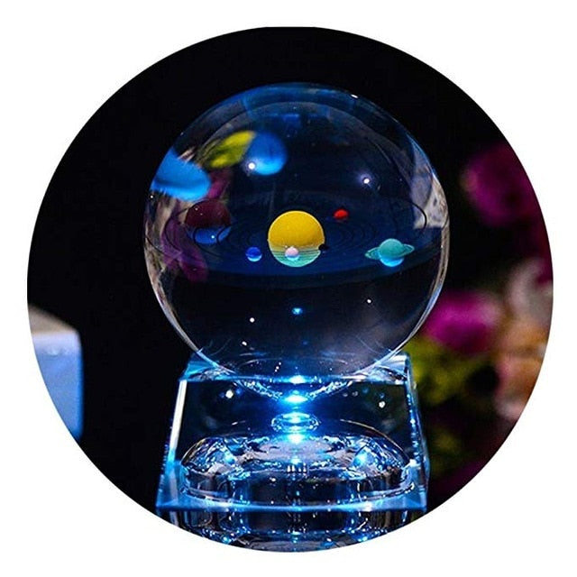 Decorative Solar System Crystal Ball With LED Light Stand