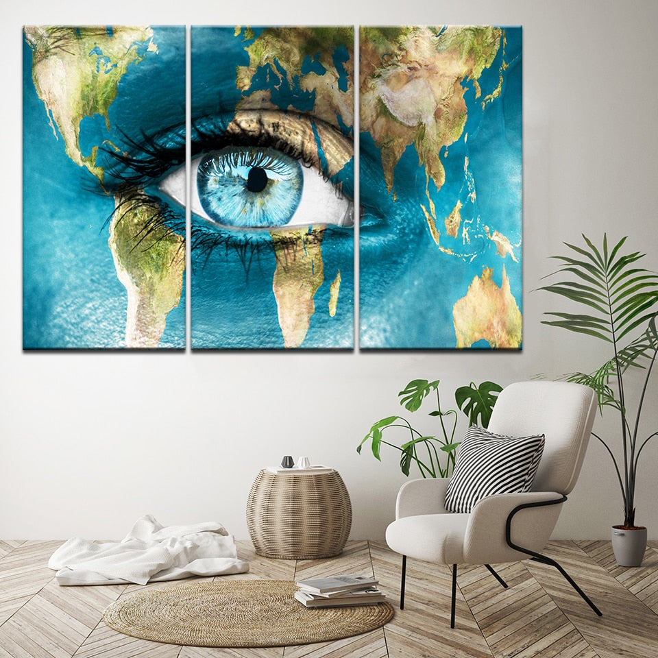 3 Panel - Eye Of The World Canvas Wall Art