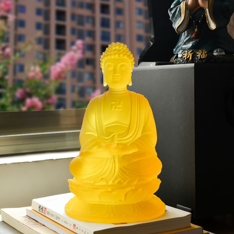 Yellow Glass Buddha Statue