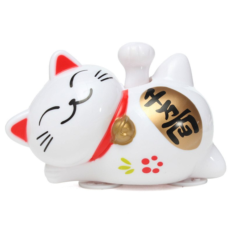 Solar Powered White Lucky Cat