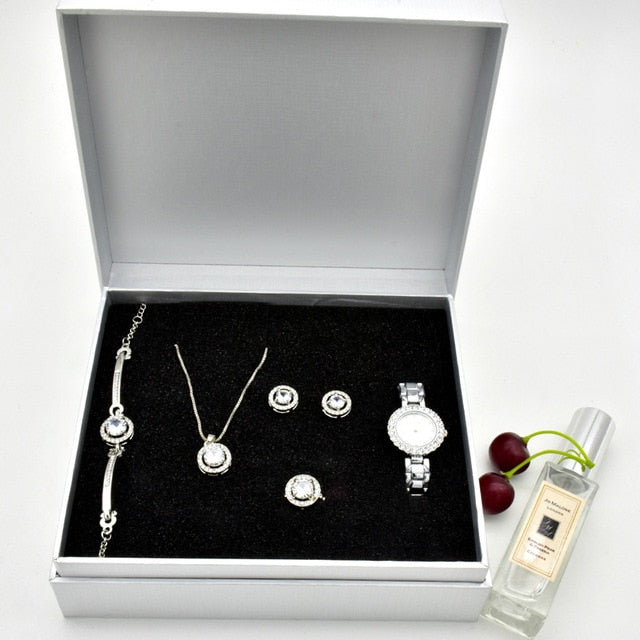 Women's Jewellery Earrings, Ring, Necklace, Bangle And Watch Gift Set