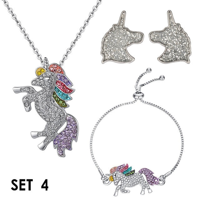 Unicorn Multicolour Jewellery Set Pendant Necklace, Bracelet, Earrings
