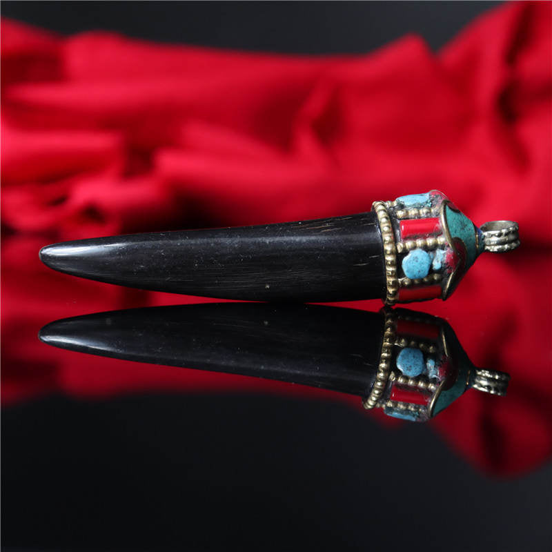 Natural Black Tibetan Horn Pendant
