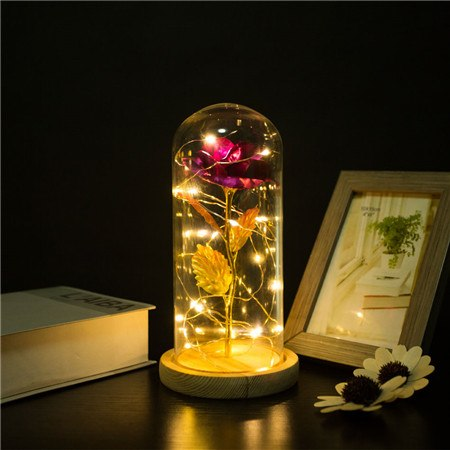 24K Gold Foil Plated Rose With LED Light In Glass Dome