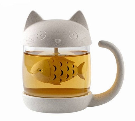 Funny Cat Glass Mug with Fish Shaped Infuser