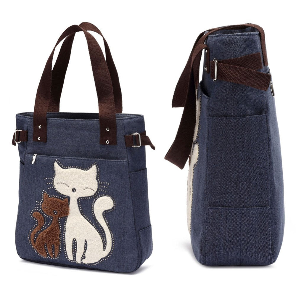 Cute Cat Women Canvas Handbag/Casual Tote Bag Large Handbag/Shoulder Bag-Canvas