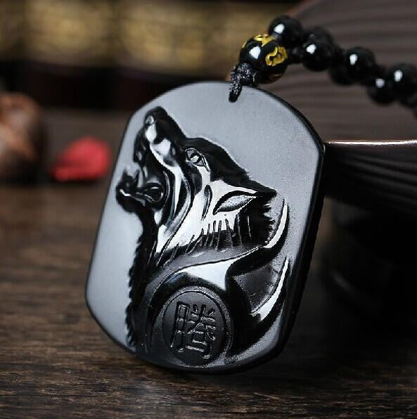 Volcanic Protective Obsidian Wolf Head Pendant Necklace in Velvet Pouch - Hand Carved