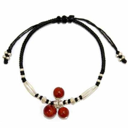 Black waxed Coral & Silver Bracelet
