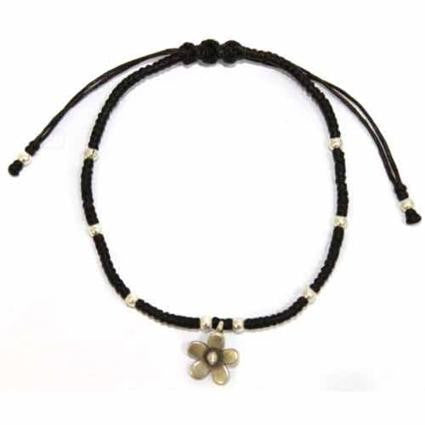 Black waxed & Silver Flower Bracelet