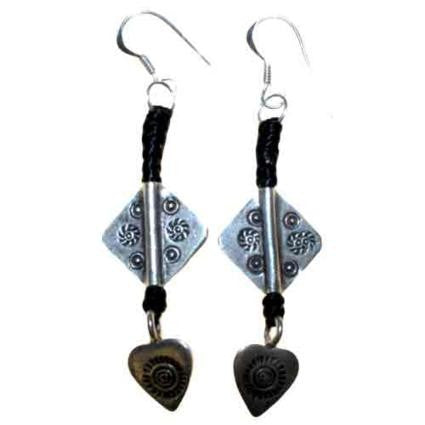 Black Waxed & Silver Heart Earring