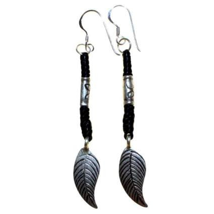 Black Waxed & Silver Feather Earring