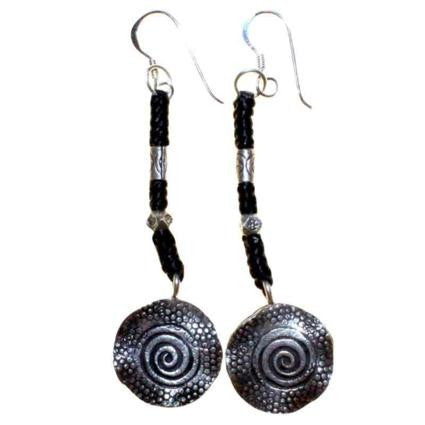 Black Waxed & Silver Spiral Earring
