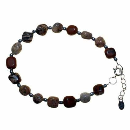 Petrified Wood & Silver Bracelet