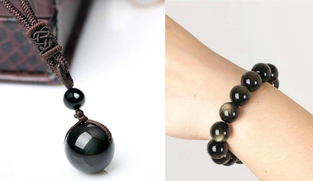 Healing Obsidian Necklace and Bracelet Set