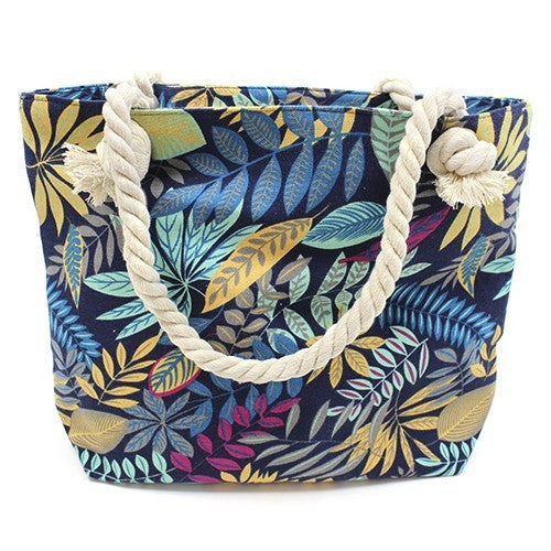 Rope Handle Bag - Teal And Blue Flowers
