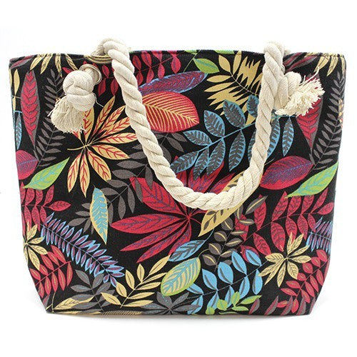 Bags, Beach Bags, Classic Rope Handled Bags, Jungle leaves, Red And Blue Flowers, Rope Handle Bag, Shopping