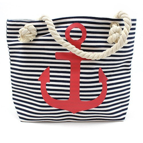 Bags, Beach Bags, Classic Rope Handled Bags, Coast, Red Anchor, Red And Blue Flowers, Rope Handle Bag, Sea, Shopping, Summer