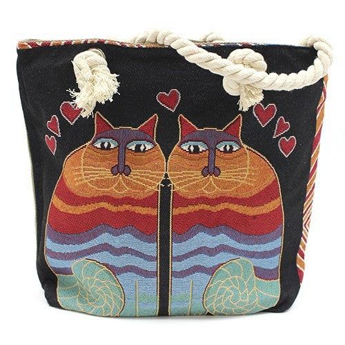 Bags, Beach Bags, Cat, Classic Rope Handled Bags, Rope Handle Bag, Sea, Shopping, Two Cats