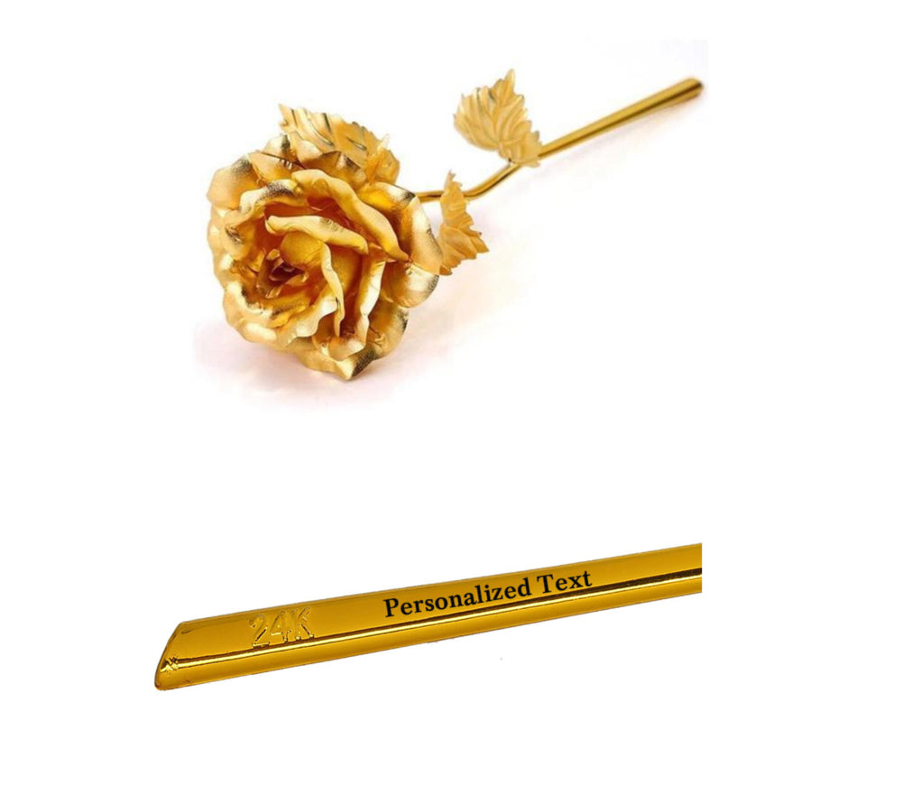 Personalised 24K Gold Foil Rose With Gift Box