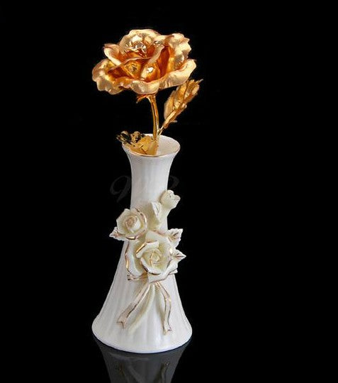 24K Gold Foil Rose With Display Stand