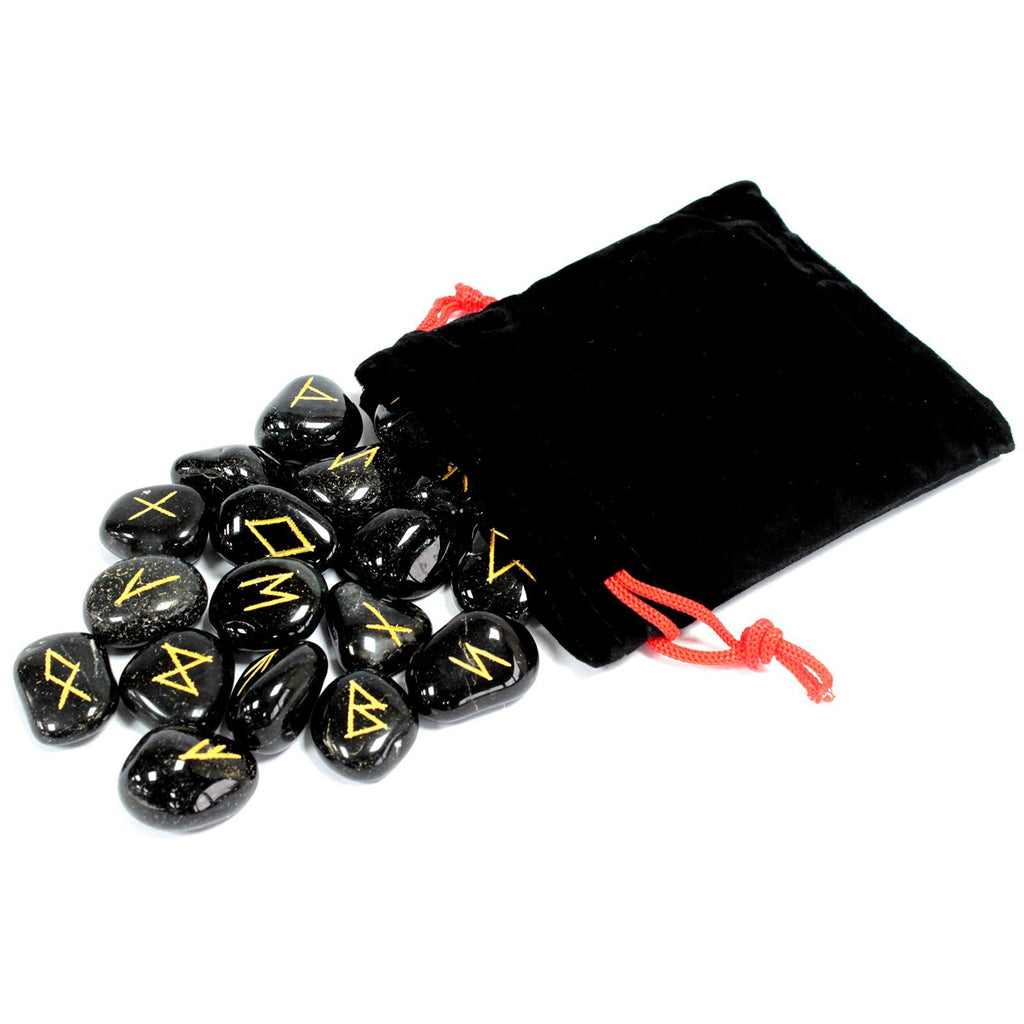 Indian Runes in Pouch - Black Onyx