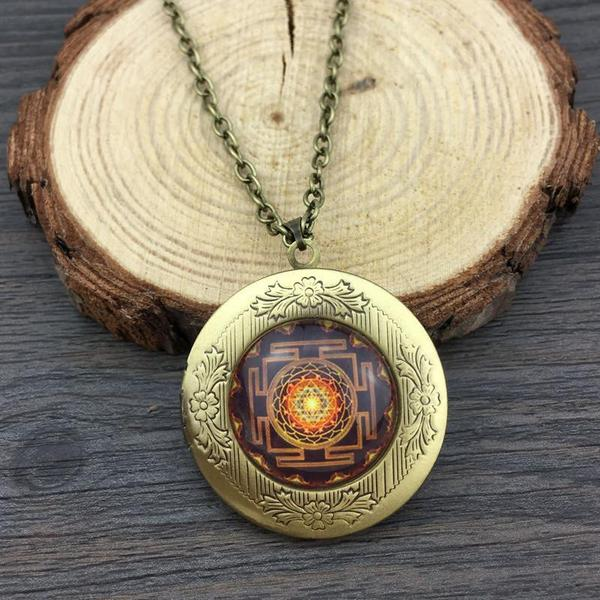 Sacred Geometry Sri Yantra Locket Necklace/Pendant in Velvet Pouch