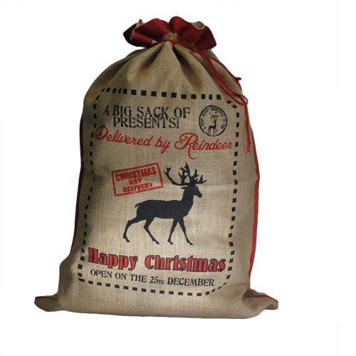 Jute Santa Sack - Delivered By Reindeer