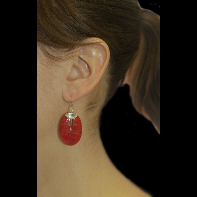 Disc Decor Coral Earrings