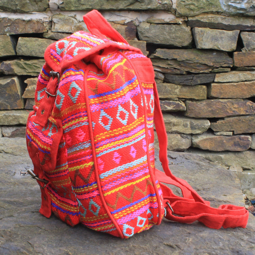 Pink Red Small Nepali Backpack