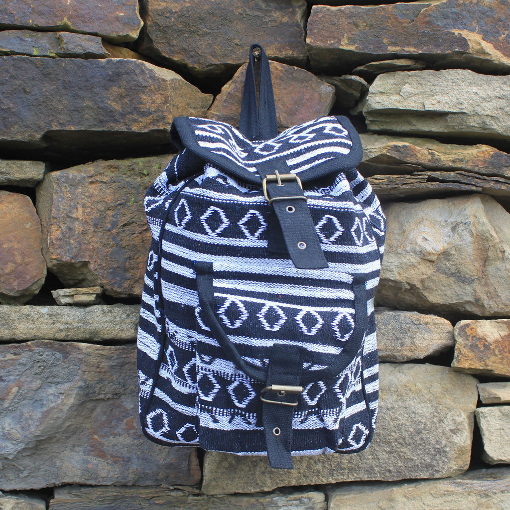 Black and White Small Nepali Backpack