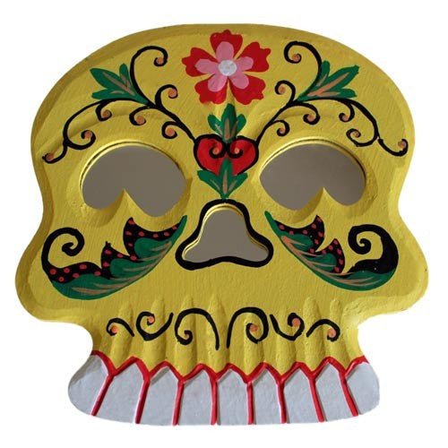 Floral Skull Mirror - Yellow