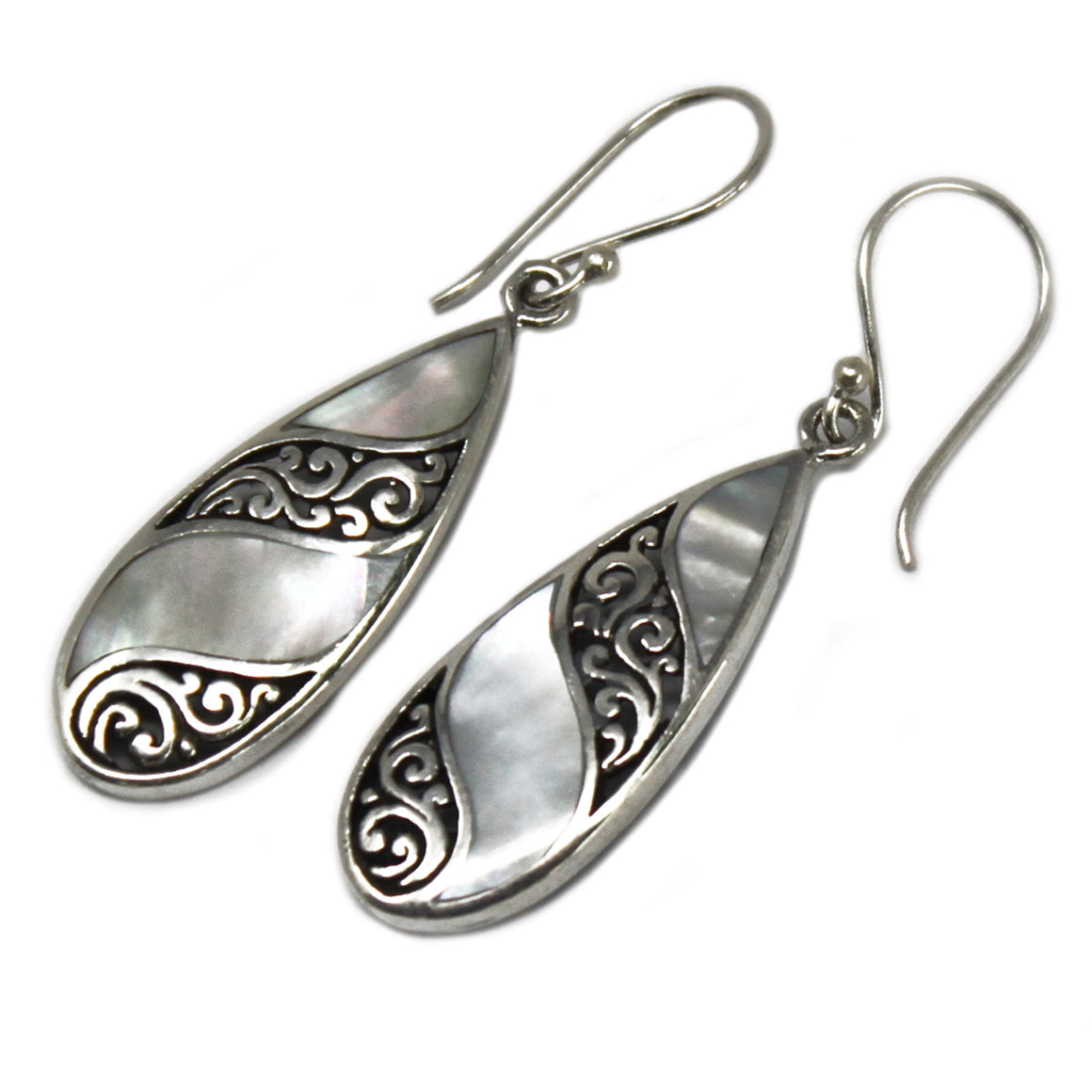 Teardrop Shell and Silver Earrings