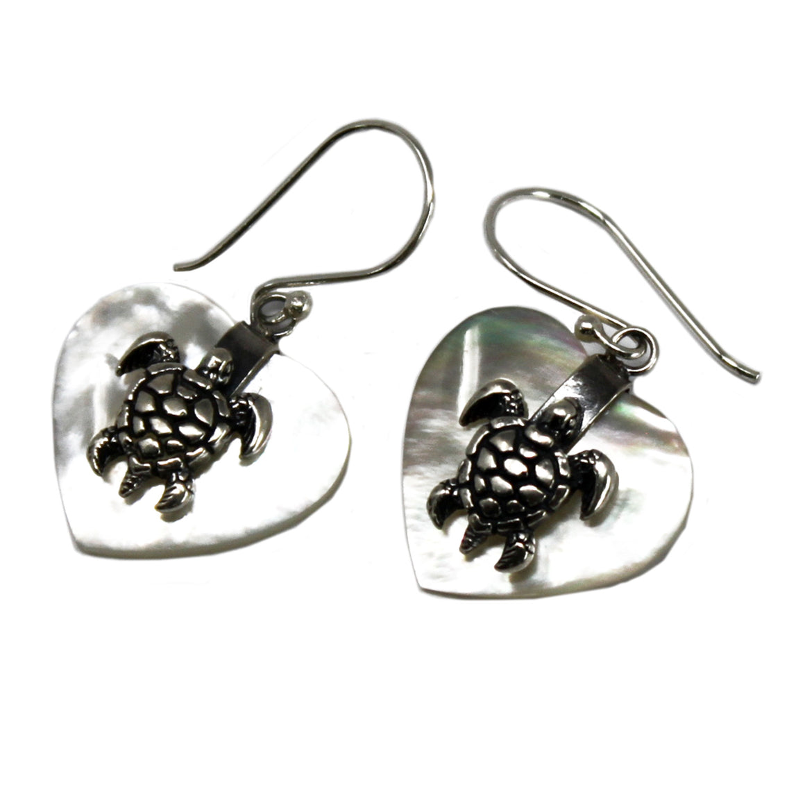 Sea Turtle Shell and Silver Earrings