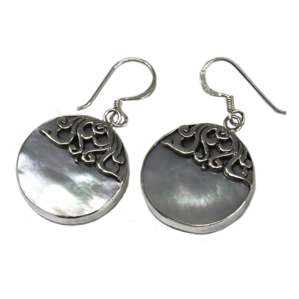 Classic Disc Shell and Silver Earrings