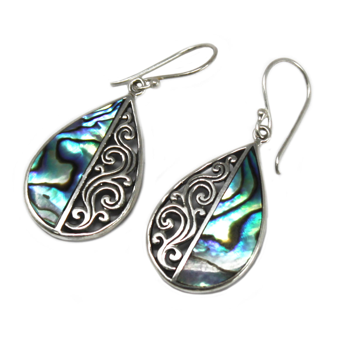 Multicolor Teardrop Shell and Silver Earrings