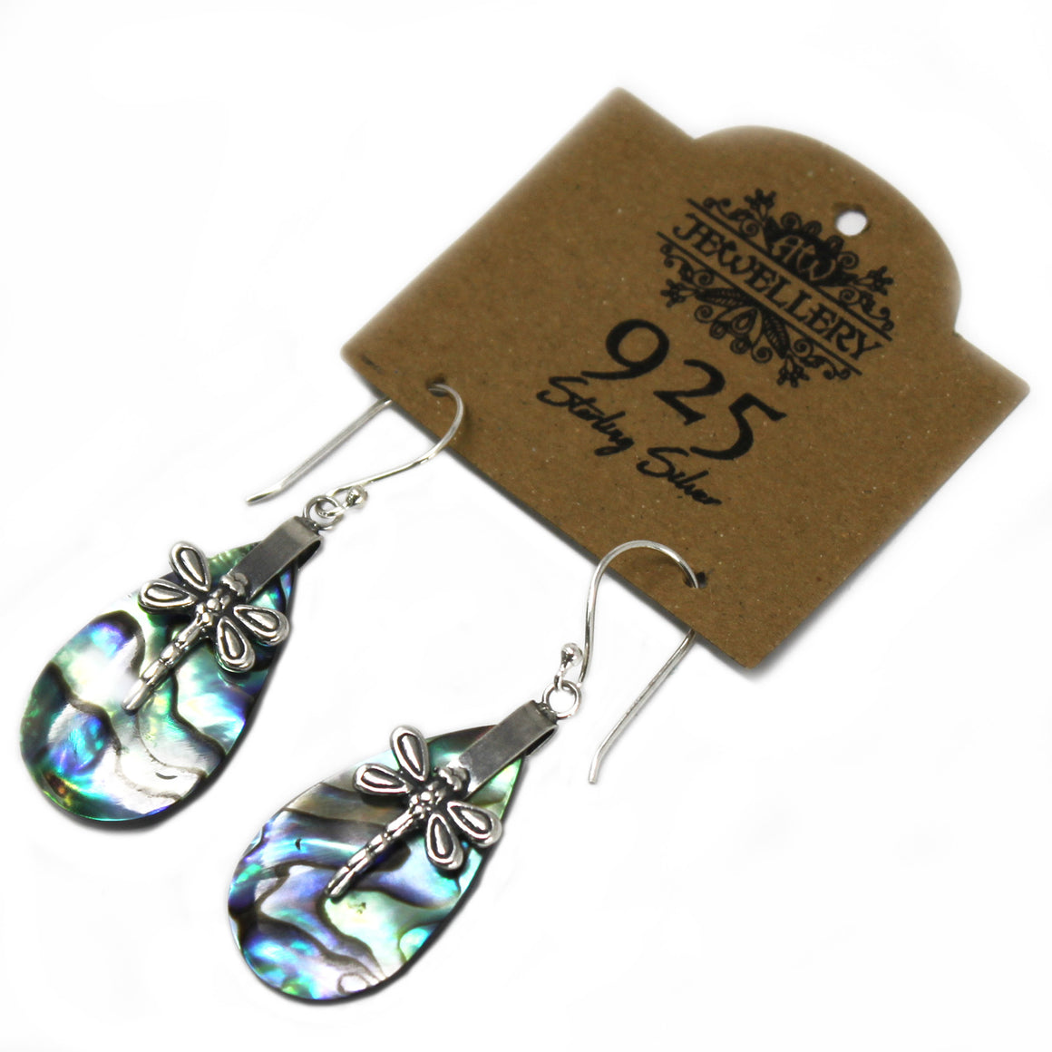 Multicolor Dragonflies Shell and Silver Earrings