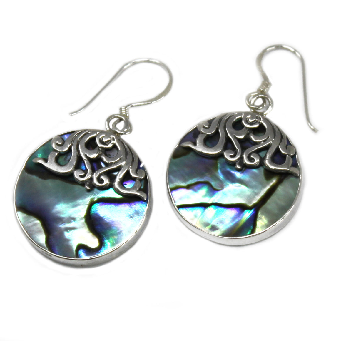 Multicolor Classic Disc Shell and Silver Earrings