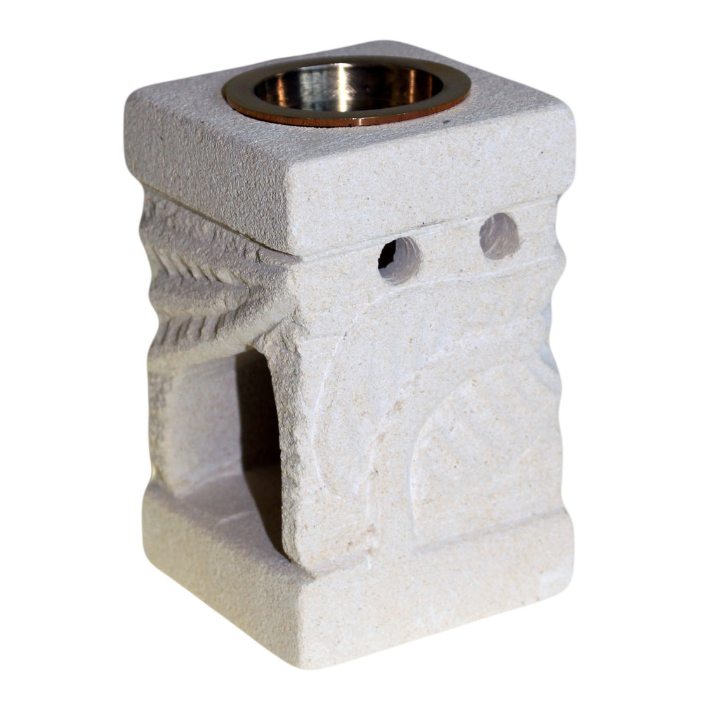 Stone Oil Burner - Carved Leaf