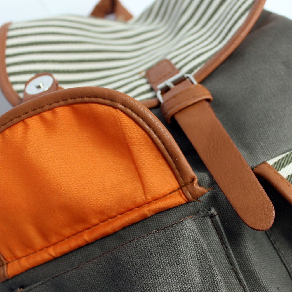 2 Pocket Olive Stripe Traveller Backpack