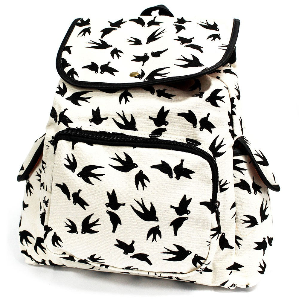 3 Pocket Black Swallows Traveller Backpack
