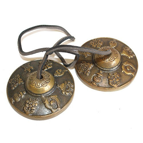 Brass Medium Tingsha - Mazira 8 Lucky Signs