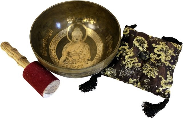 Brass Golden Buddha - Special Singing Bowl Set