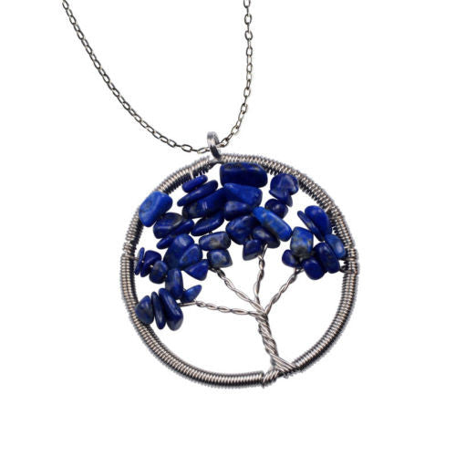 The Tree of Life Healing Natural Gemstone Pendant Necklace - Lapis Lazuli