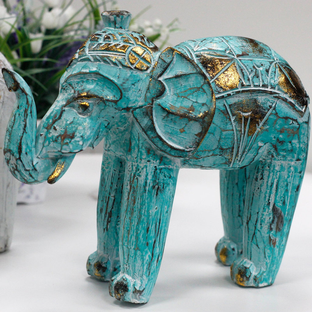 Hand Carved Wooden Turquoise Gold Elephant Figurine