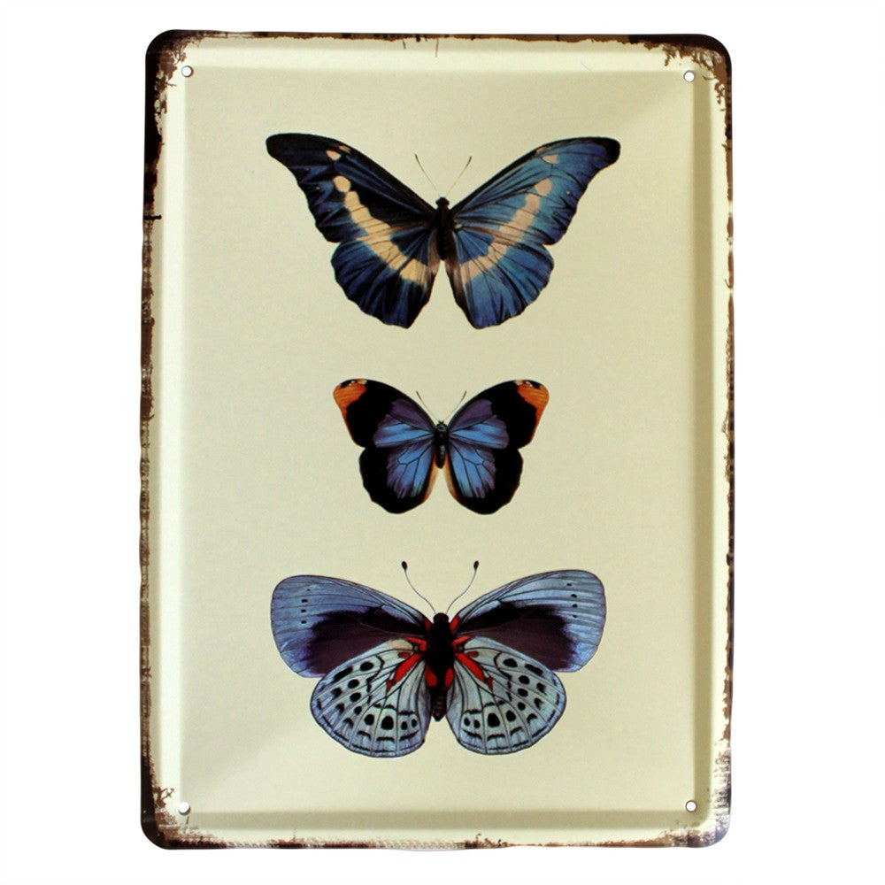 Metal Plaque - Blue Butterflies